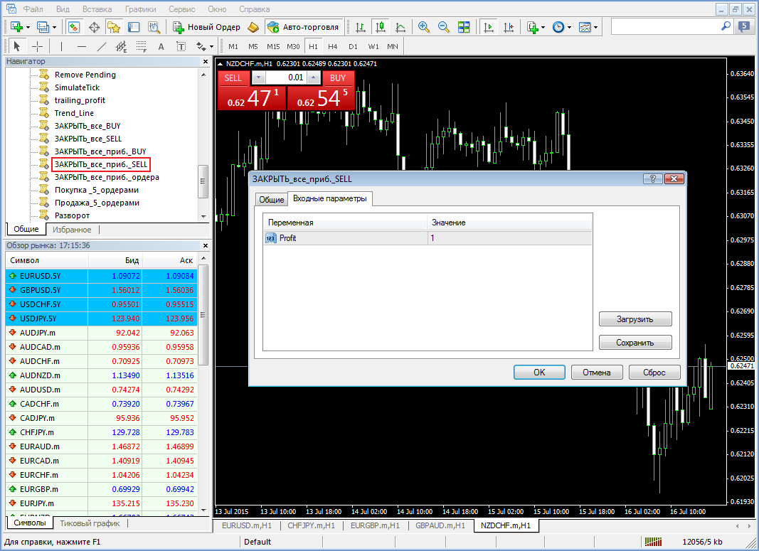 Скрипт для закрытия всех прибыльных Sell ордеров Close all profit orders Sell - Skript-Close-all-profit-orders-Sell